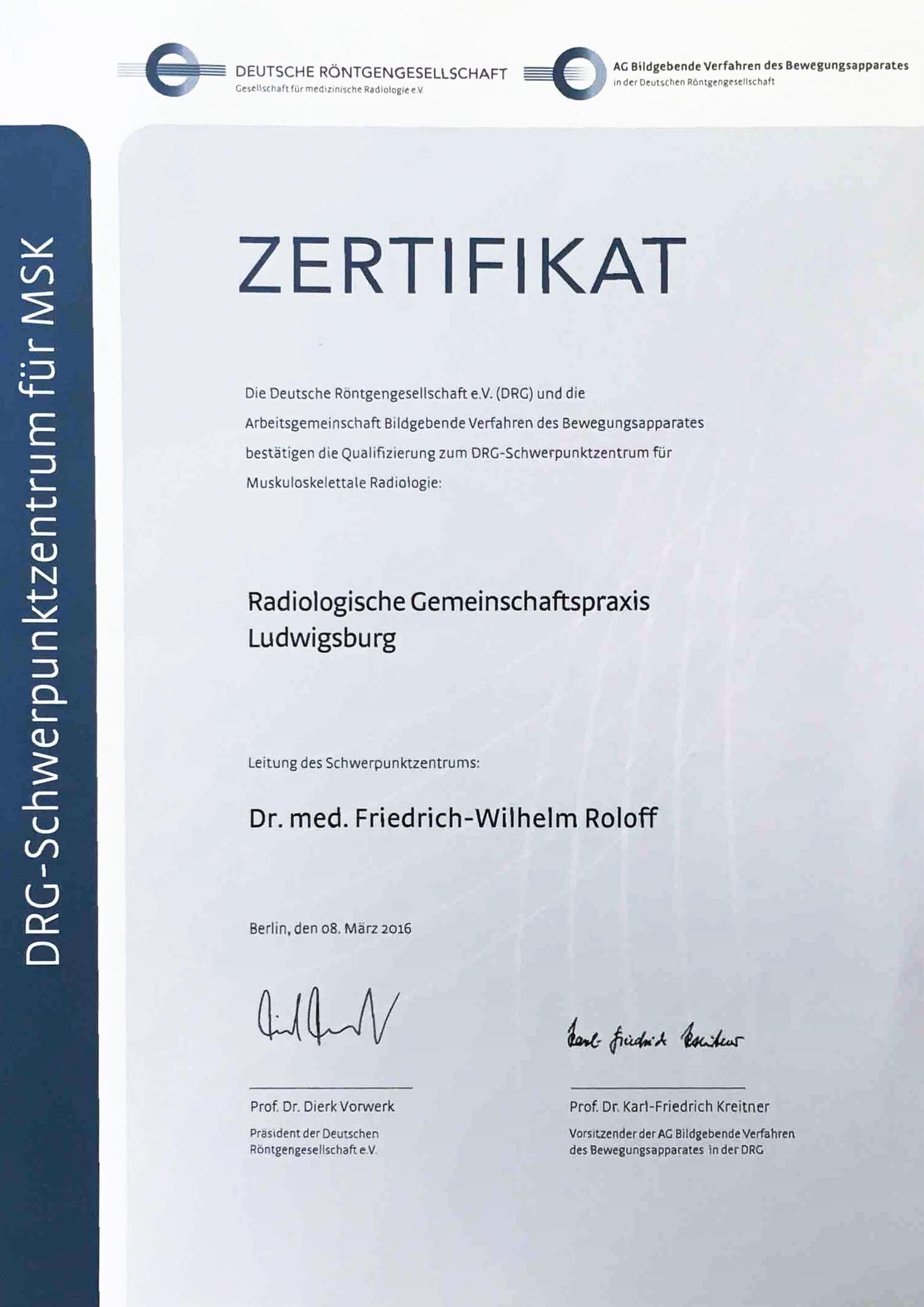 Zertifizierung als Schwerpunktzentrum für Muskuloskelettale ...