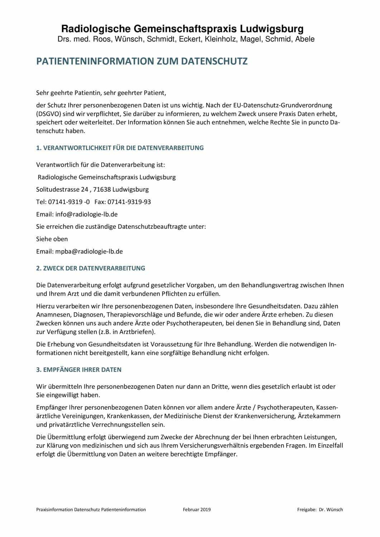 thumbnail of Praxisinformation zum Datenschutz 0219